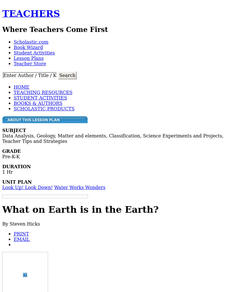 What on Earth is in the Earth? Lesson Plan