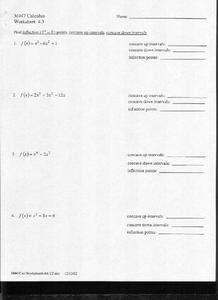 Inflection Points Worksheet