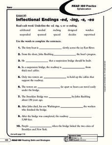 Inflectional Endings -ed, -ing, -s, -es Worksheet