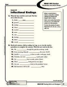 Inflectional Endings Es Lesson Plans & Worksheets
