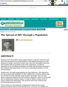 The Spread of HIV Through a Population Lesson Plan