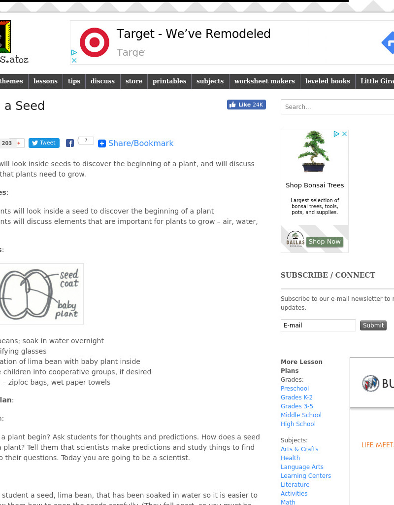 Inside A seed Lesson Plan