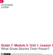 EngageNY Grade 7 ELA: Module 3, Unit 1: Building Background Knowledge: Powerful Stories—Slavery in America