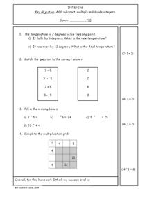 Integers Worksheet