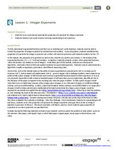 Integer Exponents Lesson Plan
