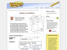 Integers And Words Worksheet