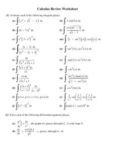 Integrals Worksheet
