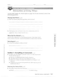 Interactions of Living Things Worksheet