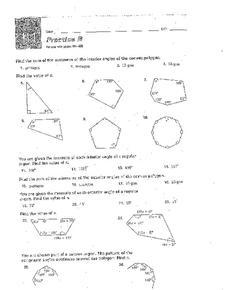 Interior and Exterior Angles Worksheet