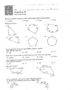 finding interior angles of regular polygons worksheet