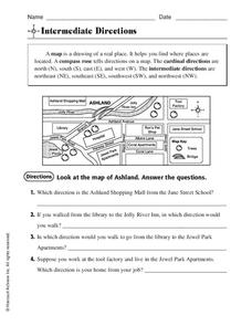 intermediate directions worksheet for 3rd 4th grade lesson planet. Black Bedroom Furniture Sets. Home Design Ideas