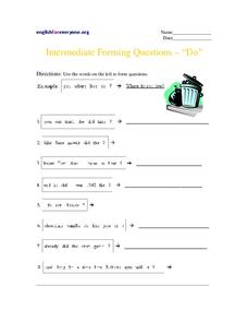 "Intermediate Forming Questions - ""Do"" Worksheet"