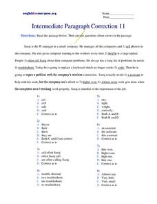 Intermediate Paragraph Correction Worksheet