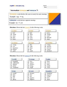Intermediate Synonyms and Antonyms Worksheet