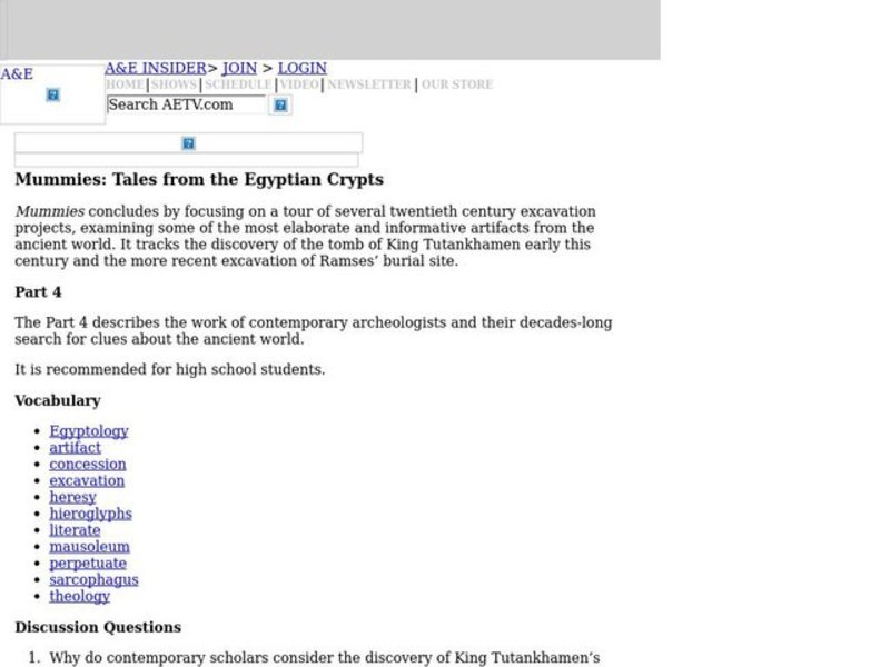 Mummies: Tales from the Egyptian Crypts Part IV Lesson Plan