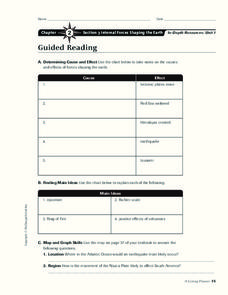 Internal Forces Shaping the Earth Worksheet