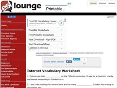 Internet Vocabulary Worksheet Worksheet
