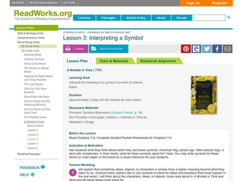 Symbolism Lesson Plans Worksheets Lesson Planet