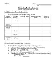 Interpreting Chemical Formulas Worksheet