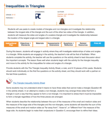 Inequalities in Triangles Lesson Plan