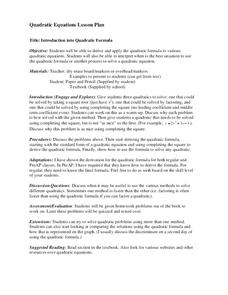 Introduction into Quadratic Formula Lesson Plan