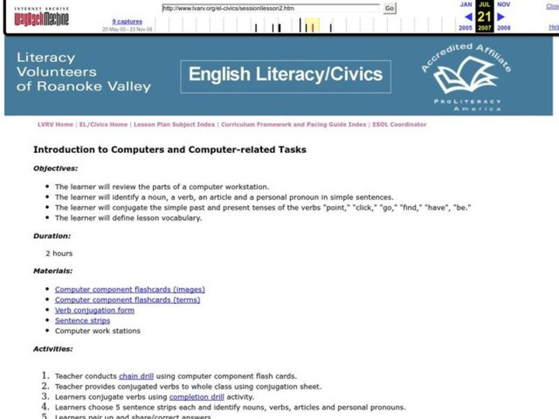 Introduction to Computers and Computer-Related Tasks Lesson Plan