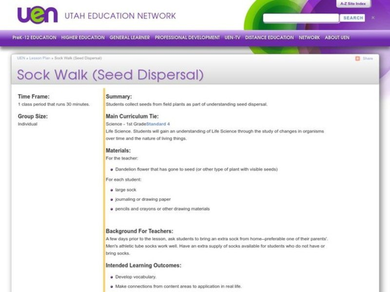 Sock Walk (Seed Dispersal) Activities & Project