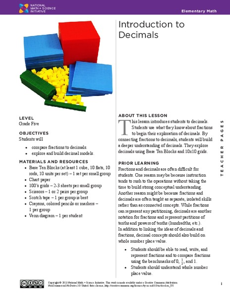 Introduction to Decimals Handouts & Reference