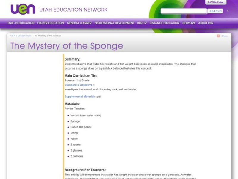 The Mystery of the Sponge Activities & Project