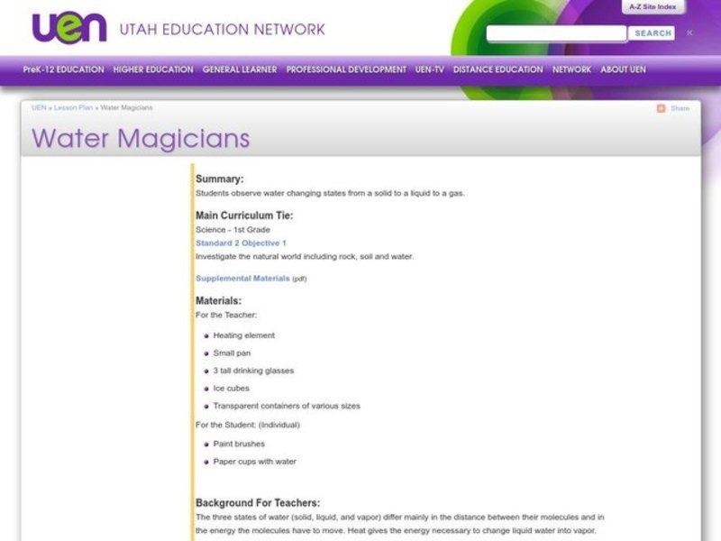 Water Magicians Activities & Project