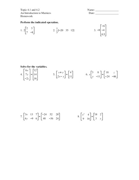 Introduction To Matrices Worksheet For 11th Grade Lesson