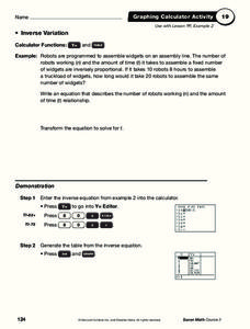 Inverse Variation Worksheet