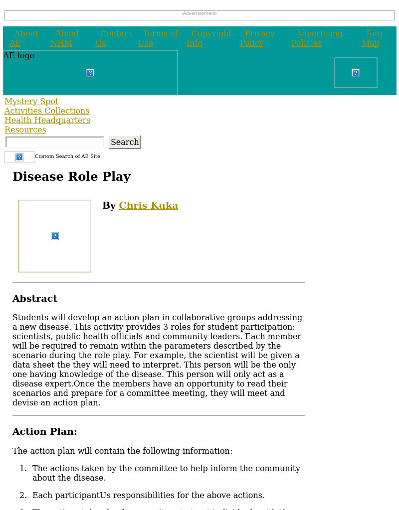 Disease Role Play Lesson Plan