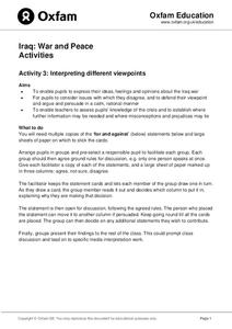 Iraq: War and Peace Activities Lesson Plan