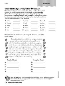 Irregular Plurals Worksheet for 3rd - 4th Grade | Lesson Planet