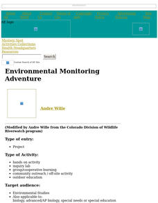 Environmental Monitoring Adventure Lesson Plan