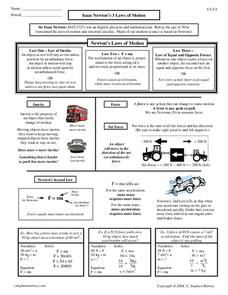 Isaac Newton's 3 Laws of Motion Worksheet