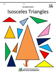 Isosceles Triangles Worksheet for 3rd - 4th Grade | Lesson Planet