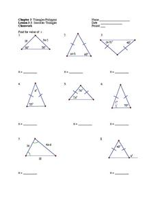 Isosceles Triangles Worksheet for 9th - 12th Grade | Lesson Planet