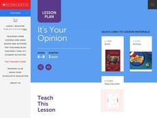 It's Your Opinion Lesson Plan