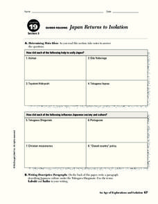 Japan Returns to Isolation Worksheet
