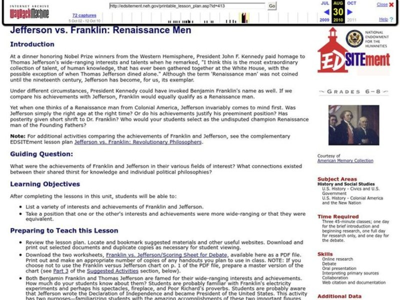 Jefferson vs. Franklin: Renaissance Men Lesson Plan