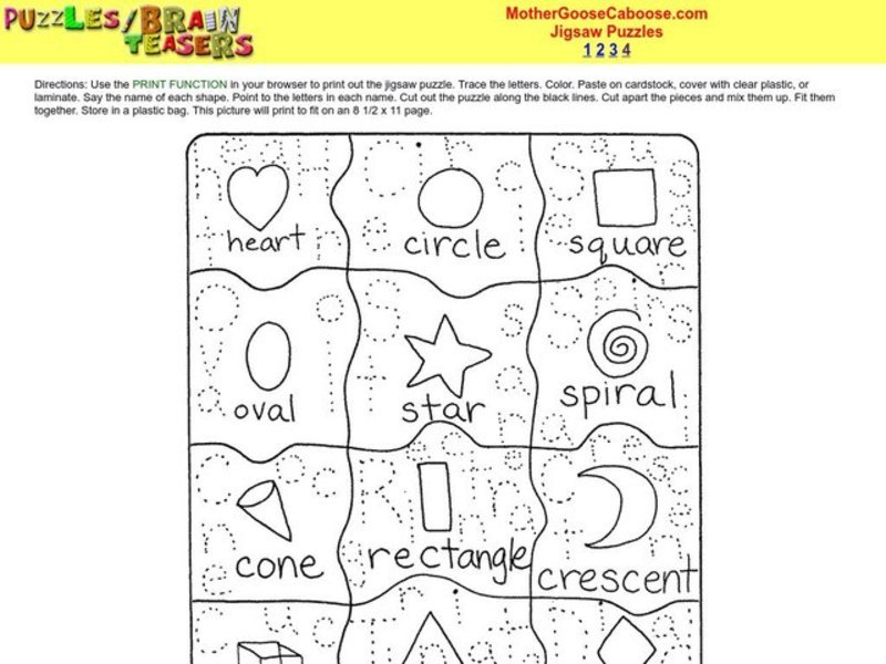 Jigsaw Puzzle Worksheet for 1st - 3rd Grade  Lesson Planet