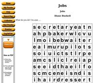 Jobs: Word Search Worksheet