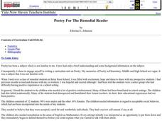 Poetry For The Remedial Reader Lesson Plan