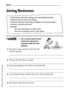 Joining Sentences Worksheet
