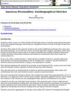 American Personalities: Autobiographical Sketches Lesson Plan