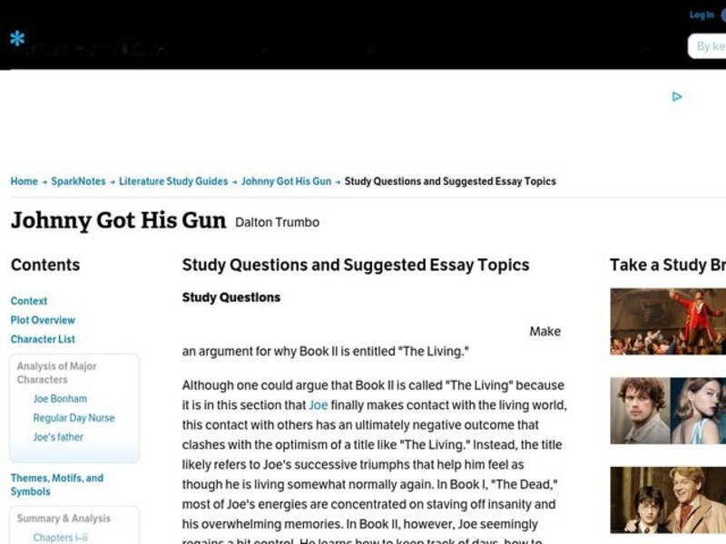 Apa Essay Papers  What Is Thesis Statement In Essay also Science Essay Ideas Johnny Got His Gun Interactive For Th  Higher Ed  Lesson Planet High School Application Essay Samples