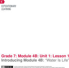 """EngageNY Grade 7 ELA: Module 4b, Unit 1: Building Background Knowledge: Management and Sustainability of Water"""