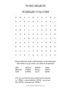 Jumbled Colours Word Search Worksheet